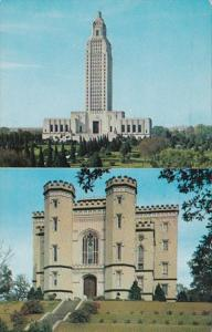 Louisiana Baton Rouge The Old and New State Capitol Buildings 1960