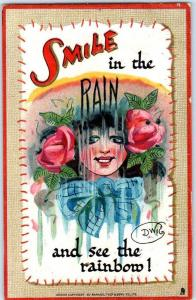 1911 Tuck's Artist-Signed DWIG Postcard SMILE in the Rain & See The Rainbow