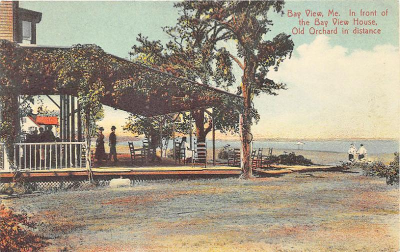 Saco Bay, Bay View House Old Orchard ME in Background Postcard
