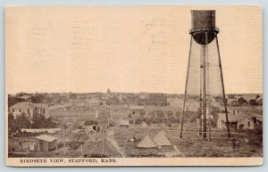 Stafford Kansas~Birdseye~Water Tower Looms Over Small Houses~Garden Sheds~1911