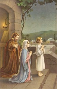 The Holy Family. Praying Nice vintage Italian religious postcard