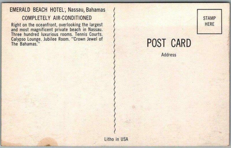 Nassau, Bahamas Postcard EMERALD BEACH HOTEL Pool Scene c1960s Chrome Unused