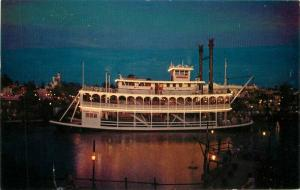 Amusement Disneyland Mark Twain Night Paddle Wheel Steamboat Postcard 7466