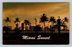 Miami FL- Florida, Biscayne Bay, Tropical Miami's Skyline, Chrome c1968Postcard