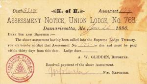 ADV: Assessment Notice, Union Lodge #768, Damariscotta, Maine 1886