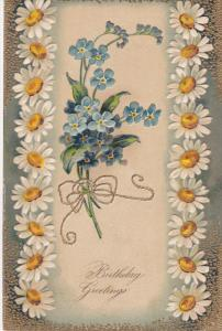BIRTHDAY; Greetings, Daisies and Forget-Me-Not Flowers, 00-10s