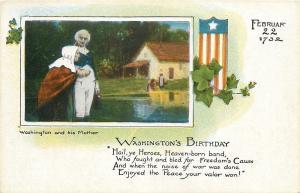 Patriotic~President George Washington & His Mother~Feb 22 1732~Birthday~1914 PC