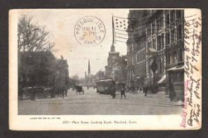 CT Main Street HARTFORD CONN Postcard UDB Horse & Buggy Connecticut Postcard
