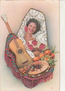 Spain Folk Costume Corrida Silk Embroidered Postcard Espana Retro Lady Guitar