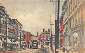 Montpelier VT Business District Store Fronts Trolley Postcard