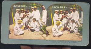 PHILIPPINE ISLANDS PHILIPPINES COCK FIGHE SPORTS VINTAGE STEREOVIEW CARD