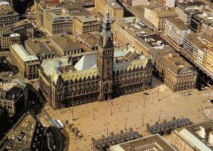 Hamburg Rathaus, City Hall Square Aerial view