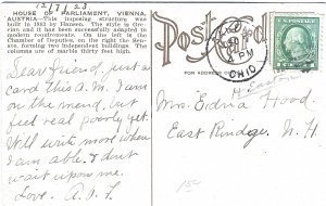 1923 House of Parliament, Vienna, Austria Divided Back Postcard