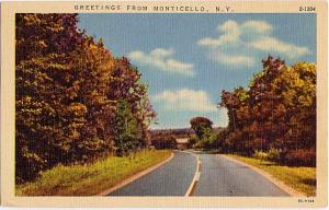 Greetings from Monticello, Sullivan County, New York - Linen - pm 1957