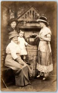 1910s RPPC Photo Postcard 3 Generations of Women at Studio Water Well Arkansas?
