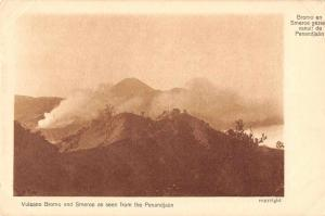 Java Indonesia birds eye view Mt Bromo and Smeroe antique pc Z17751