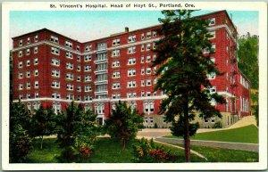 Portland, Oregon Postcard ST. VINCENT'S HOSPITAL Building View c1930s Unused