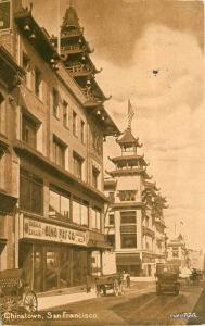 1918 San Francisco California Chinatown autos Mitchell postcard 8219
