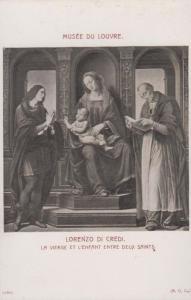 Lorenzo Di Credi Virgin Mary & Infant Saints  Louvre Gallery Painting Postcard