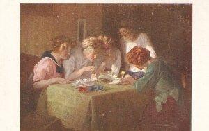 Jobst. Ladies. Training leson. Goldfische Fine painting vintage German Postcar