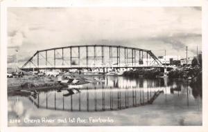 A47/ Fairbanks Alaska AK Real Photo RPPC Postcard Chena River 1st Ave Bridge