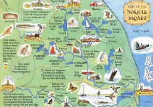 Map Postcard of The Norfolk Broads, Wroxham, Stalham, Norwich, Gt Yarmouth Z15