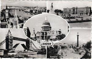 postcard London 5 views monochrome
