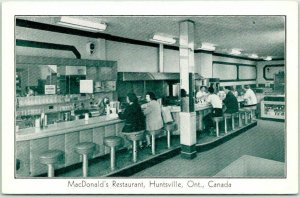HUNTSVILLE Ontario Canada Postcard MacDonald's Restaurant Lunch Counter c1960s