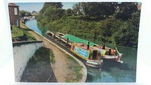 Vintage Postcard Narrowboats Braunston Grand Union Canal Blue Line Charters