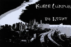 NEW Postcard, Kuala Lumpur by Night, Graphic, Black & White DK9