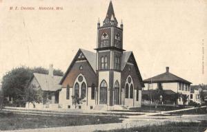 Horicon Wisconsin ME Church Street View Antique Postcard K46891