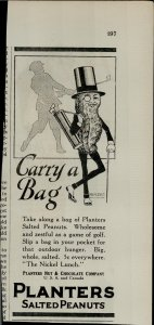 1927 Planters Salted Peanuts Carry a Bag Vintage Print Ad 3931