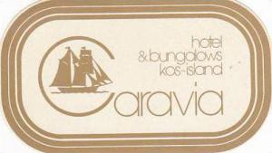 GREECE KOS CARAVIA HOTEL & BUNGALOWS VINTAGE LUGGAGE LABEL