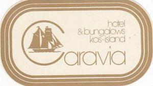 GREECE KOS CARAVIA HOTEL & BUNGALOWS VINTAGE LUGGAGE LABEL