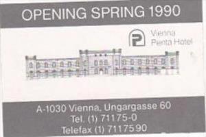 AUSTRIA VIENNA PENTA HOTEL VINTAGE LUGGAGE LABEL