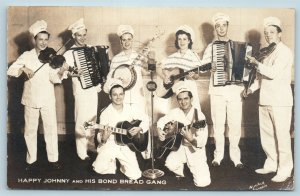 AD Postcard Happy Johnny & His Bond Bread Gang Band WBAL Baltimore RPPC Photo W2