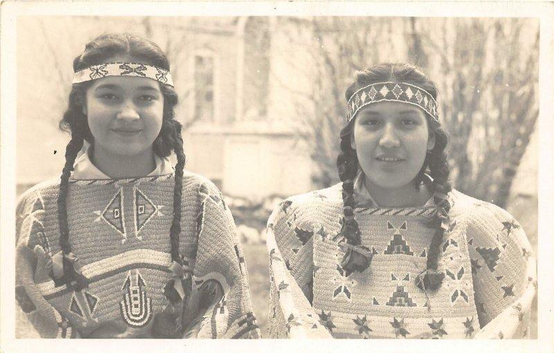 G21/ Native American Indian RPPC Postcard c1940s Girls Braids 5