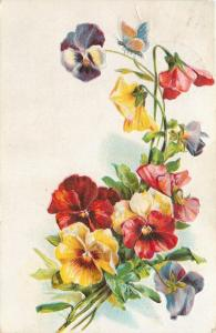 Blue Butterfly Perches Atop Cluster Of Yellow Red Purple Pansies~Emboss~1913