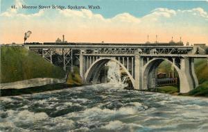 Spokane Washington~Monroe Street Bridge~Power Plant Smokestacks~1910 Postcard