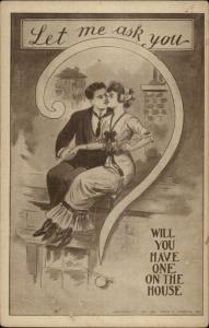 Romance - Ppretty Woman - Couple in Giant Question Mark c1910 Postcard