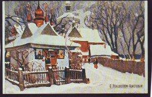 P1469 vintage unused postcard colorful russia, russian christmas eve