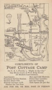 ST AUGUSTINE , Florida, 1910s , Post Cottage Camp Street map
