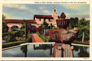 California Mission San Juan Capistrano North Or Patio Garden Showing Fountain...