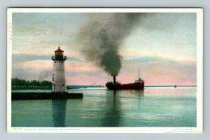 Sault Ste Marie MI-Michigan, Sunset At Upper Lighthouse, Vintage c1909 Postcard