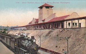 Washington Everett Train At Great Northern Railroad Depot Lower View