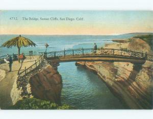Unused Divided-Back SUNSET CLIFFS BRIDGE San Diego California CA d4327
