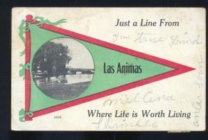 LAS ANIMAS COLORADO GREEN RED PENNANT VINTAGE POSTCARD BLUE LICK MISSOURI