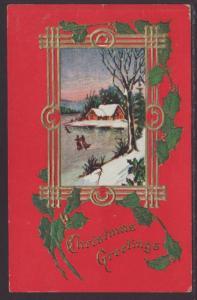 Christmas Greetings,House,Holly Postcard