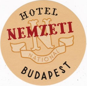 Hungary Budapest Hotel Nemzeti Vintage Luggage Label lbl0025