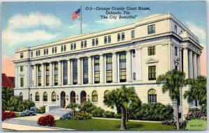Orlando, Florida Postcard Orange County Court House The City Beautiful Linen